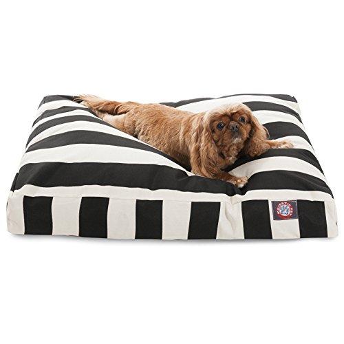Black Vertical Stripe Medium Rectangle Pet Bed
