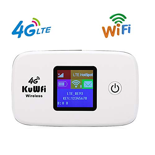 KuWFi 4G LTE Mobile Hotspot Portable WiFi Unlocked Travel Router with SIM Card Slot and TF Card Slot Support B2/B4/B5/B12/B17 for United States Canada Mexico