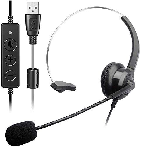 FLYEER PC Headset mit Mikrofon, USB Business Headset Noise Cancelling & Klare Stereo-Sound für Call Center, Office Telefonkonferenzen, Skype-Chat, Webinar-Präsentationen, Online-Kurse und Musik