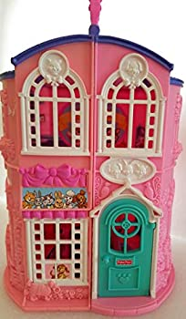 Fisher Price Sweet Streets Pet Parlor with Vet Center Blue with Pink Roof 9 1/4  tall PLAYHOUSE ONLY