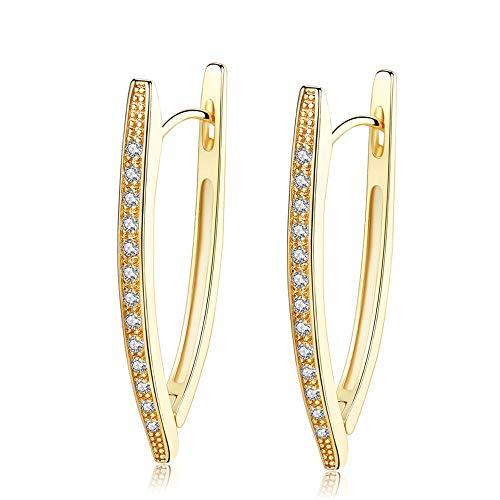 CHIY-GBC Zirconia de Moda Cristal Irregular Simple geométrico Creativo Forma Oro Hoop Pendientes para Mujeres Moda joyería