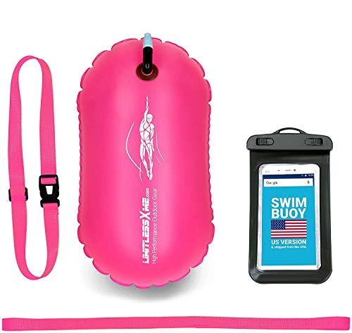 LimitlessXme Schwimmboje – Sicherheit für Schwimmer, Open Water und Triathlon Pull Boje für Erwachsene und Kinder Pink Signal Schwimmblase