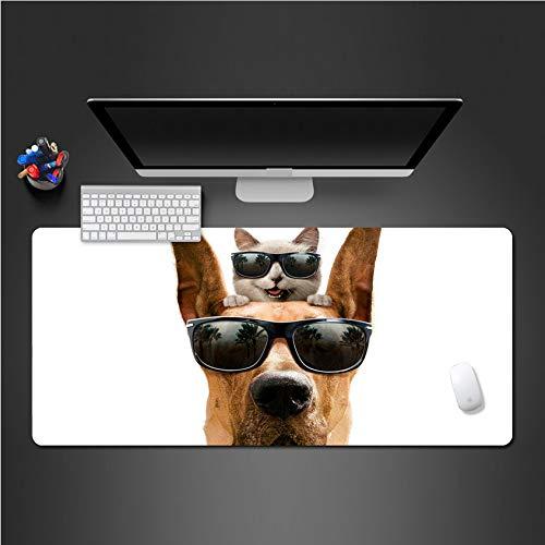 Sxkdyax Mauspad Niedliche kreative Mausunterlage für Hundekatzen große Mausunterlage Computerspiel-Mausunterlagen Tierschreibtischmatten gifts-90CMX40CM