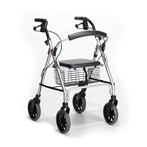 DIETZ Rollator Ligero Leichtgewicht 55 x 67 x 81-89,5cm (B/T/H) Gehilfe, faltbar, Einkaufskorb, Sitzfläche, klappbaren Bügel, Stockhalterung, langlebig Größe S (Sitzhöhe: 51cm)