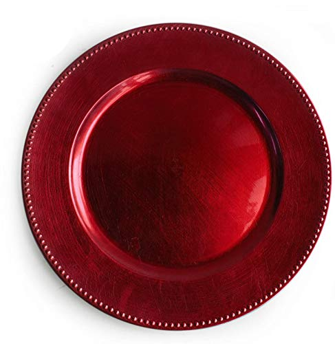 Tiger Chef 13-inch Red Round Beaded Charger Plates, Set of 2,4,6, 12 or 24 Dinner Chargers (12-Pack)