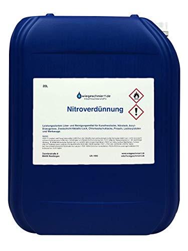 wiegeschmiert.de KNAUS Nitroverdünnung (20 Liter) | Verdünner für Kunstharzlacke etc. | Reiniger für Pinsel, Werkzeuge etc.