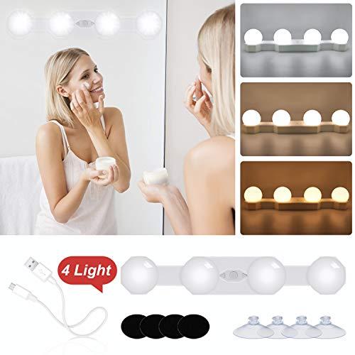 N NEWKOIN LED Spiegelleuchte Hollywood Dimmbar Lampe Tragbare Makeup Mirror Light Schminktisch Beleuchtung Spiegel Licht Schminklicht mit Schalter(Spiegel nicht enthalten)