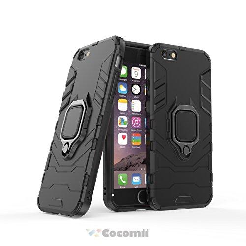 Cocomii Black Panther Armor iPhone 6S/6 Funda Nuevo [Robusto] Táctico Anillo Metálico Sujeción Soporte [Funciona con El Montaje De Coche Magnético] Case Carcasa for Apple iPhone 6S/6 (B.Jet Black)
