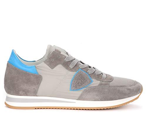 Philippe Model Sneaker Tropez In Camoscio E Tessuto Grigio Con Spoiler Celeste