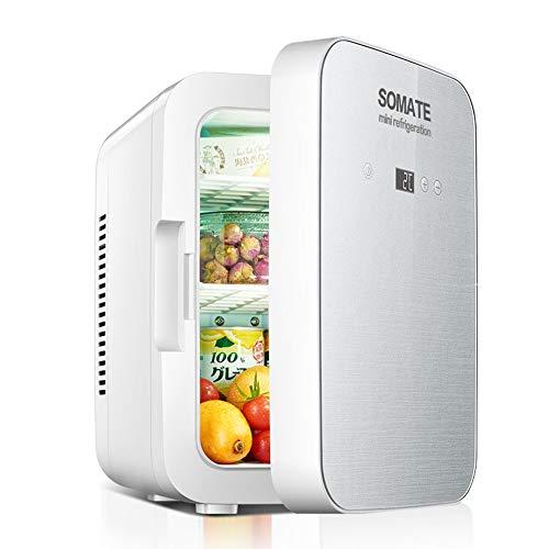 JOMSK 8L portátil Mini Personal del Coche Refrigerador Pequeño Estudiante compartida de una Puerta electrónica Enfriador Refrigerador Electrico (Color : White, Size : 20.5 * 27.5 * 31.5cm)