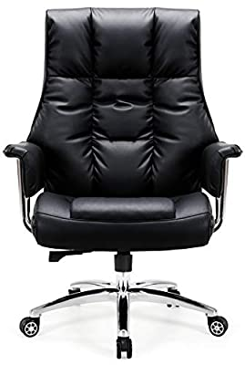 Big and Tall Office Chair 400lbs Desk Chair High Back PU Executive Chair, Tribesigns Ergonomic Office Chair with 23.6 Inch Wide Seat Lumbar Support Task Swivel Chair for Bigger People, Black