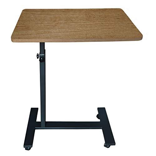Laptop desks, Height-Adjustable Bedside Tables on Wheels, for Home or Office use, Student desks, Sofa Tables, Standing Mobile desks, Hospital wards and Bed-Ridden Elderly Dining Tables (Brown)