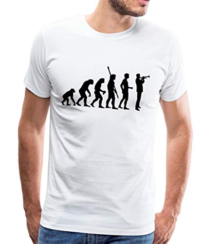 Evolution Trompeter Männer Premium T-Shirt, 4XL, Weiß