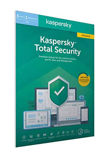 Kaspersky Total Security 2020 Upgrade | 3 Geräte | 1 Jahr | Windows/Mac/Android | Aktivierungscode in frustfreier Verpackung