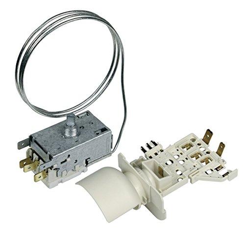 Thermostat Kühlthermostat Umbausatz mit Lampenfassung Kühlschrank Kühlgerät Original Whirlpool Bauknecht 484000008565 Ranco K59-S1893 700mm Kapillarrohr 3x6,3mm AMP Ersatz für Atea A13-0707