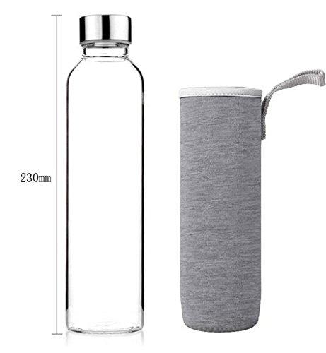 Nykkola Gourde élégante en verre écologique de haute qualité verre avec housse colorée en nylon., gris