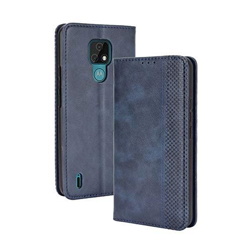 TOPOFU Funda Motorola Moto E7, Carcasa PU/TPU Flip Leather Wallet Case, Funda de Cuero PU Premium Carcasa Libro de Cuero para Motorola Moto E7 (Azul)