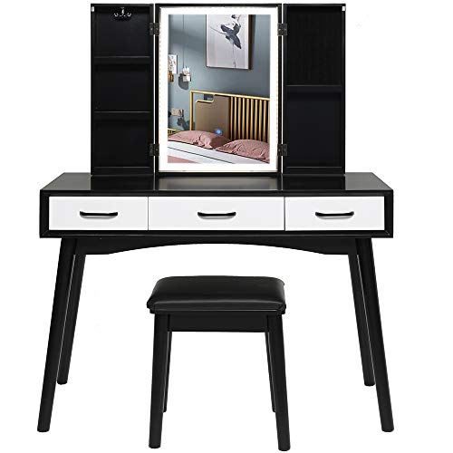 Iwell Large Vanity Set with 3 Colors LED Lighted Mirror, Vanity Tables with 5 Storage Shelves & 3 Drawers, Dressing Makeup Table with Cushioned Stool for Bedroom, Bathroom, Black