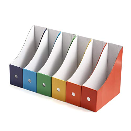 Resky ボックスファイル A4 紙 収納ボックス 小物入れ ファイルスタンド 6色6個組