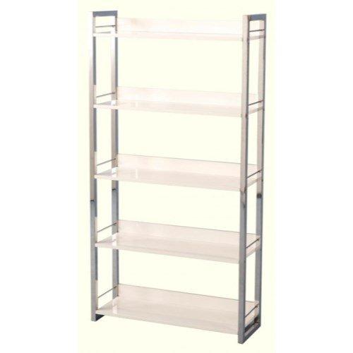 Charisma High Gloss 5 Shelf Bookcase In White Color: White