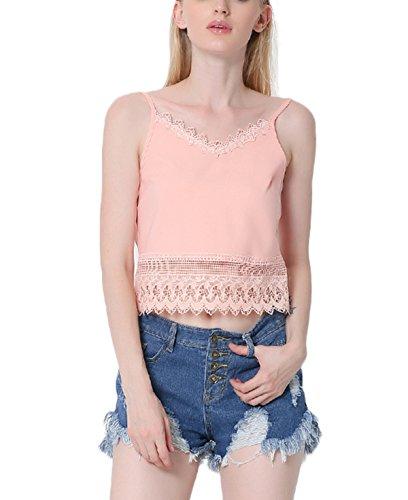 Fanmay Elegante camiseta de tirantes para mujer, para verano, sin mangas, con encaje, elegante chaleco Rosa. S