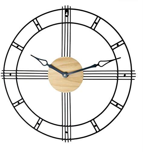Reloj de pared para sala de estar, estilo vintage grande, de hierro negro, con números romanos – Silencioso reloj decorativo nórdico para sala de estar, dormitorio, salón, hotel, bar, regalo