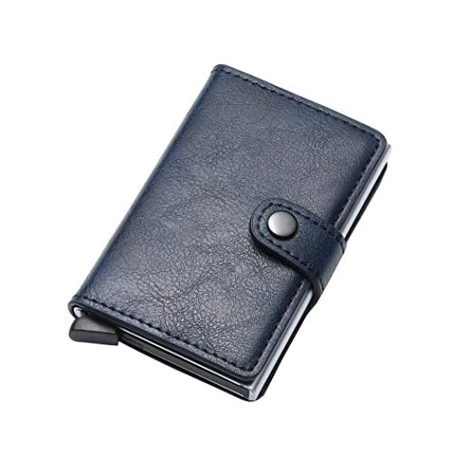 Premewish Portafoglio Uomo RFID in Pelle, Porta Carte di Credito da Portafoglio per Carte di Credito e Banconote con Protezione RFID e NFC Schermato Pop-up Pulsante, Adatto a Uomo e Donna (Blu)