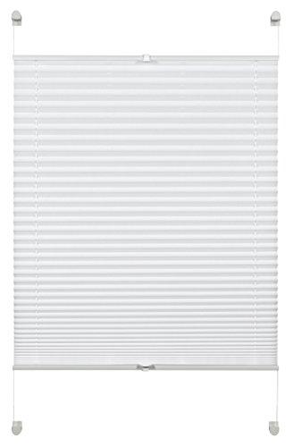 Deco Company Store plissé à clipser, Store pliable opaque, Kit de Montage Inclus, EASYFIX Store plissé serré avec 2 rails de commande, Blanc, 65 x 130 cm (LxH)