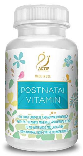 Actif Organic Postnatal Vitamin with 25+ Organic Vitamins and Organic Herbs, Nursing and Lactation Supplement, Non-GMO, Made in USA, 90 Count