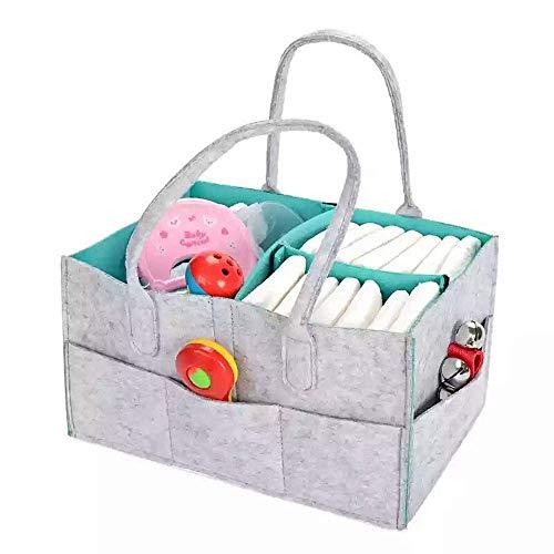 Baby Diaper Caddy Organizer - Baby Basket For Boys Girls Large Portable Travel Car Organizer Nursery Storage Bin for Changing Table Newborn Registry