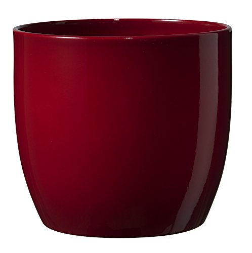 Soendgen ceramic flower pot, Basel full colour, clay, bordeaux, 16 x 16 x 15 cm