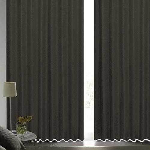 [カーテンくれない] 断熱・遮熱カーテン「静 Shizuka」完全遮光生地使用【形状記憶加工】遮音 防音効果で生活音を軽減 高断熱 静 遮光1級 全13色 色: ブラックブラウン サイズ:(幅)100cm×(丈)200cm×2枚入 / Bフック/タッセル付き