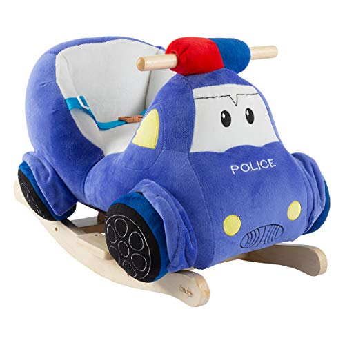 Happy Trails Rocking Police Car Toy- Kids Plush Stuffed Ride On Wooden Rockers with Sounds, Handles-Make Believe Fun for Boys, Girls, Toddlers (80-669POL)