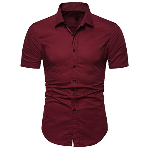 LOCALMODE Men's Slim Fit Cotton Business Casual Shirt Solid Short Sleeve Button Down Dress Shirts Medium Wine Red…
