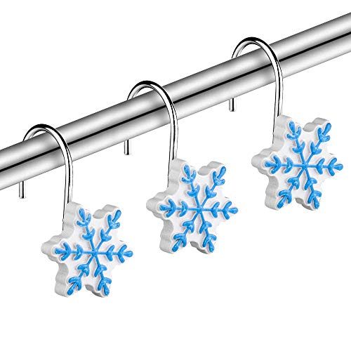SUMBLIME Christmas Decorative Shower Curtain Hooks - 12PCS Rust Proof Stainless Steel Snowflake Curtain Rings for Winter Snowman Snow Themed Bathroom, Restroom, for Thanksgiving, Blue