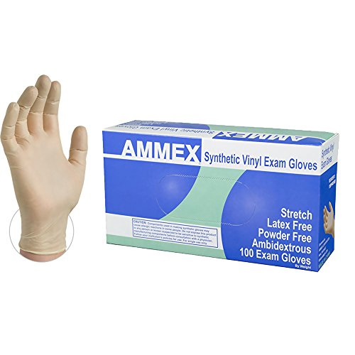 AMMEX Medical Ivory Stretch Synthetic Vinyl Gloves, Box of 100, 4 mil, Size XLarge, Latex Free, Powder Free, Disposable, Non-Sterile, VSPF48100-BX