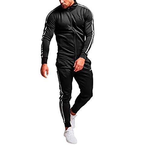 MOVERV Hombres Conjuntos de Chándal para Deportivos,Chándal de Entrenamiento de Manga Larga para Hombre Pantalón Slim Fit con Bolsillo y Cremallera de Chaqueta Gimnasio de Running Fitness