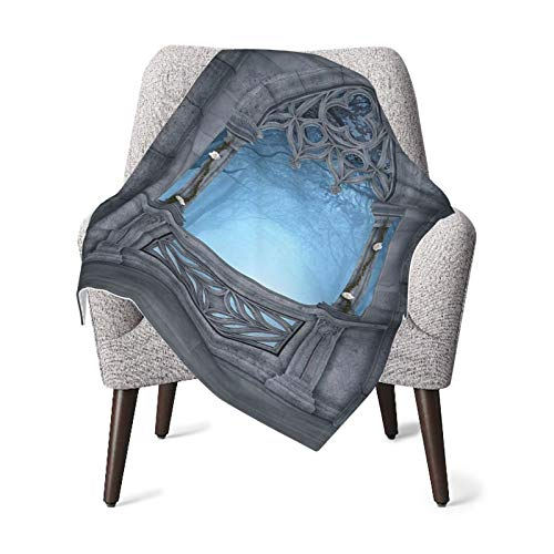 Baby Double Blanket Baby Quilt Fairytale Fantasy World Castle Architecture Details Terrace Gazebo Indoor Foggy Forest Grey Light Blue Baby Blanket,Baby Comfort Blanket