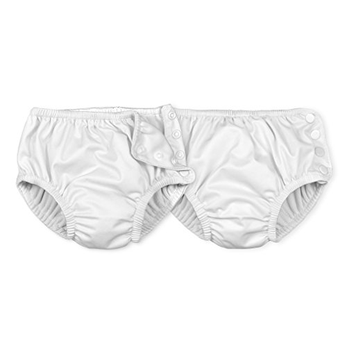 i play. by green sprouts Baby Reusable Absorbent Swim Diapers 2 Pack, White/Snap, 18 Months