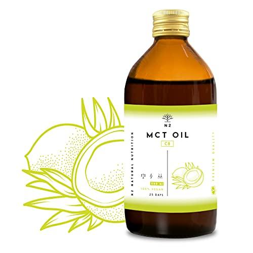 Aceite de coco MCT C8 PREMIUM. Dieta Keto & Cetogenica. MCT oil con Acido Caprilico para ayudar a adelgazar. Acidos Grasos y Trigliceridos. Con más Cetonas. Quemagrasas. VEGANO UE N2 Natural Nutrition