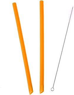 akaddy Silicone Straws Reusable Silicone Straws and Plastic Replacement Straws Flexible Chewy Bendy Safe for Kids(Orange)