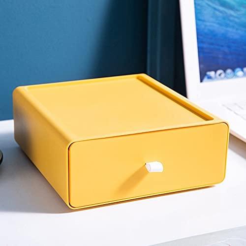 JSJJAKM Organizador de escritorio Cajón, caja de almacenamiento de maquillaje máscara de gran capacidad, almacenamiento de oficina, caja de medicamentos (color: amarillo)