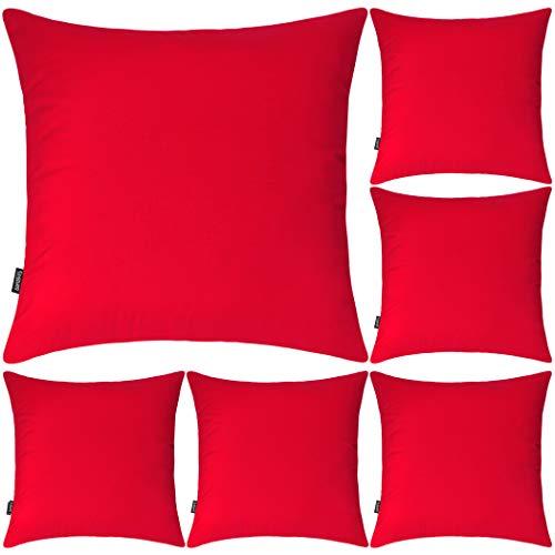 Lot de 6 housses de coussin carrées décoratives en 100 % coton, 45 x 45cm, rouge