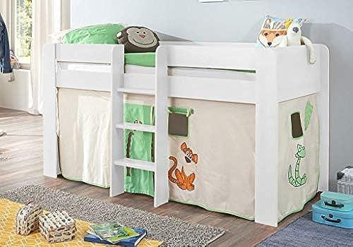 Froschk g24 Hochbett ANDI 1 Kinderbett Spielbett halbhohes Bett WeißStoffset Dschungel, Matratze mit