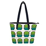 SARA NELL Women's Leather Tote Shoulder Bags Cute Cactus Emoticons Handbags for Work Travel Business Beach Shopping School