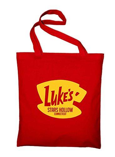 Styletex23 Luke's Stars Hollow Diner Cafe Logo Fan Jutebeutel Baumwolltasche, red
