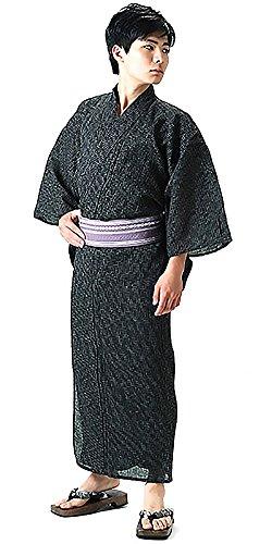 [ 京都きもの町 ] 男性 綿麻浴衣2点セット「黒色破れ細格子浴衣×浅紫色献上柄角帯」 LL