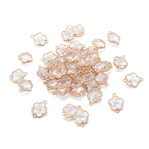 Fashewelry 50pcs Faceted Glass Charm Beads Transparent Flower Links Connectors 15.5x12mm for Jewellery Making