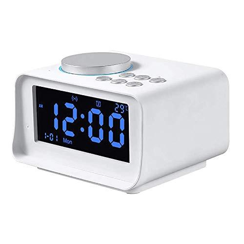 Clock Radio, LCD-Display Snooze Clock Radio Met Dual Alarm Clock Digital Radio Speaker Ondersteuning USB TF Card Muziek Afspelen Functie,White