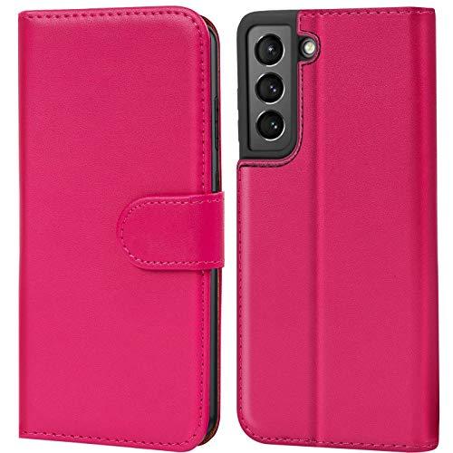 Verco Handyhülle für Samsung Galaxy S21 Plus Hülle, Bookcase Tasche Flipcover für Samsung S21+ Hülle [Kartenfächer/Aufstellfunktion], Pink